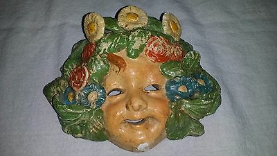 "Vintage Antique terra-cotta miniature 6"" mask Child Girl Flowers Leaves"