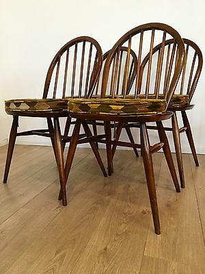 Vintage Ercol Dining Chairs Set Of 4 1960's 1970's Original Seat Pads COURIER
