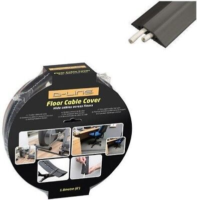 D-Line Black Light Duty Floor Cable Cover Protector | 80mm x 1.8m Long