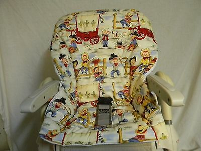 Hand Made Chicco Polly High Chair Cover/ Rootin Tootin Cowboys   ~CUTE~