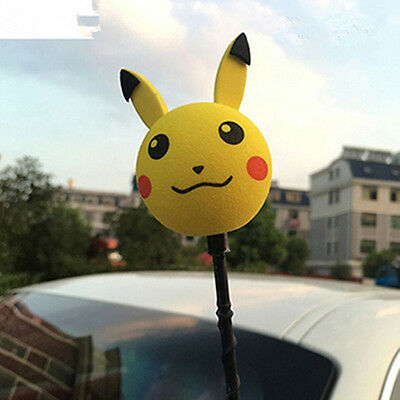 Yellow Pokemon Go Pikachu Antenna Ball Car Aerial Ball Antenna Topper Decor Ball
