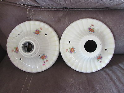 2 Vintage Ceramic Porcelain Ceiling Light Fixture Flush Mount w/ Floral Designs