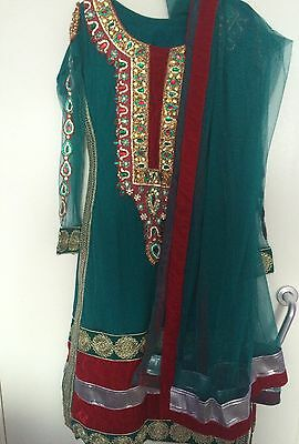 Green and Red Churidar Indian Suit