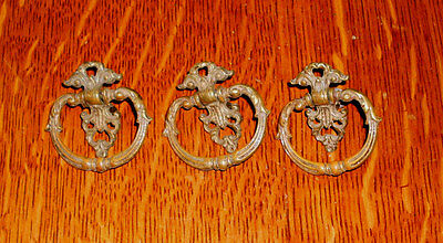 (( # 17 )) ((( Used Fancy Drawer Pulls )))) (((( Set Of 3 ))) ((((1920's ))))