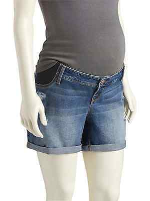 OLD NAVY Women's Maternity Side-Panel Cuffed Curvy Shorts  Size 6 Cotton Blend