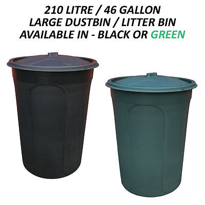 210 Litre Plastic Extra Large Dustbin/litter Bin For Waste/rubbish/recycling