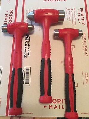 New Snap On Red 3Pc. 16, 24, And  32 Oz. Dead Blow Hammer Set