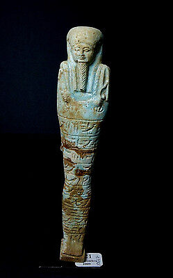 *Aphrodite Gallery* EGYPTIAN FAIENCE INSCRIBED USHABTI, ca. 700-30 B.C.
