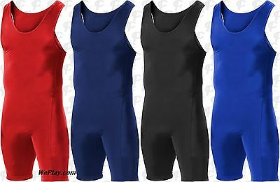 Alleson Heavyweight Adult Mens Wrestling Singlet Red Navy Royal Black 250W1A