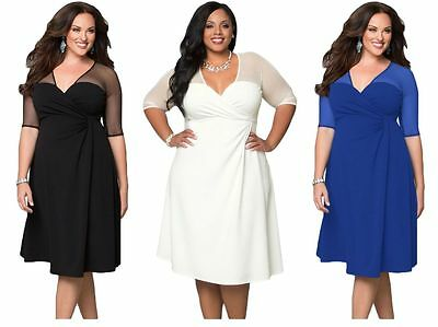 New Womens Plus Size 1X 2X 3X Black White Blue Career Work Office Evening Dress
