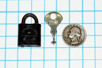 Genuine Antique Vtg Old Small Miniature Corbin Cabinet Lock Co GEM Padlock & Key