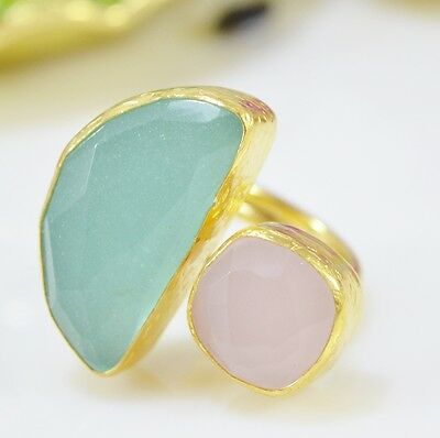 Ottoman Gems semi precious gem stone ring gold plated  Chalcedony Rose quartz