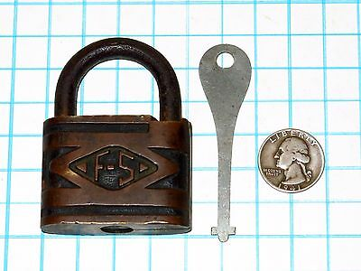 Genuine Vtg Antique Brass Case F-S Fraim Slaymaker Hardware Padlock Lock and Key