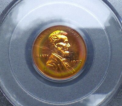 1970 - S  Lincoln Penny Graded Pr-66 Rb By Pcgs With Rainbow Target Toned Obv.