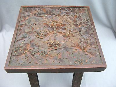 A Superbly carved Antique Wooden Stool or Table - Arts and Crafts ?