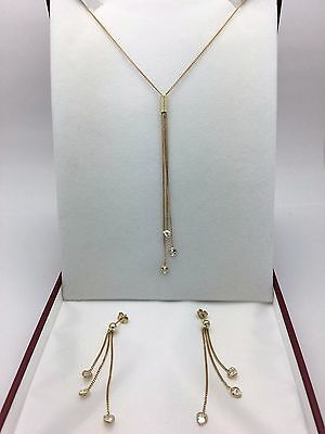 14K Yellow Gold Necklace & Earrings Jewelry Set with White Heart Zirconia 5.5 g