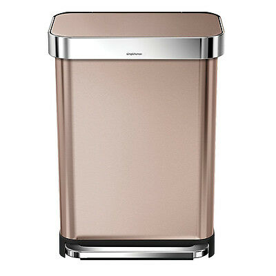 NEW Simplehuman Rectangular Rose Gold Step Can Rubbish Bin 55L