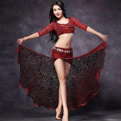 New 2016 Lace Belly Dancing Costumes Stage Club 2Pcs Top&Long Skirt Slit M L XL