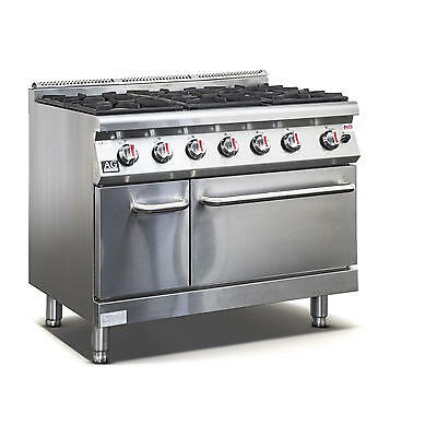 New Commercial Gas 6 Burner Hob Gas Cook top Stove top With Cabinet, Oven LPG