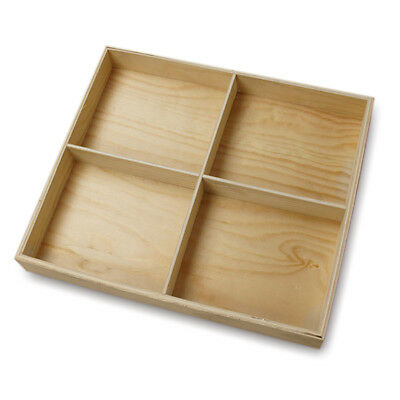 New Large 4 Section Rectangular Divided Wood Tray Shadow Box Unfinished Plywood