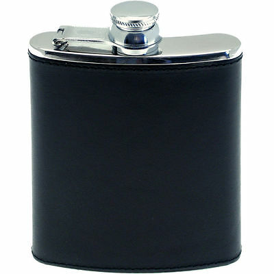 Hip Flask Pu Leather 7Oz Stainless Steel Whisky Drink Gift Camping New Pocket Uk