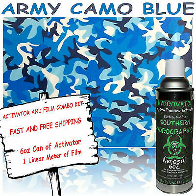 Hydrographic Film Water Transfer Hydro Dip 6Oz. Activator W/ Army Blue Camo Dip