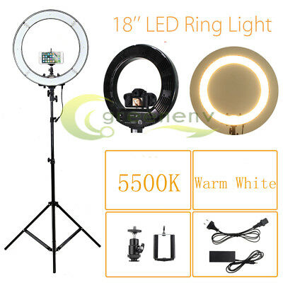 """18"""" LED Photography Ring Light Dimmable 5500K Lighting Photo Video w/Stand"""