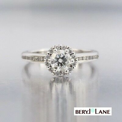 Pretty Diamond Halo Engagement Ring, Crafted in 18ct White Gold
