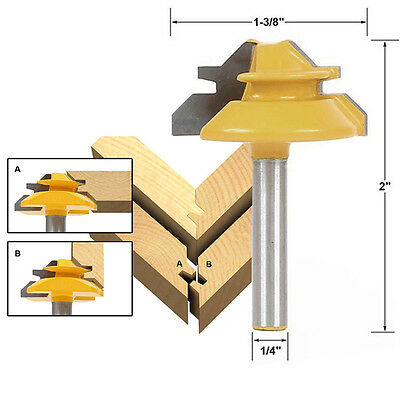 "Small Lock Miter Router Bit 45Degree 1/2"" Stock 1/4"" Shank"