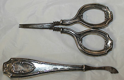 PAIR VINTAGE STERLING SILVER MANICURE  SET Made in GERMANY Scissor Cuticle Cuttr