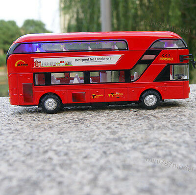 Bus Model Cars 1/48 Tour London Double Decker Diecast w/light&sound Toy Gift Red