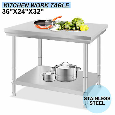 """Stainless Steel Work Bench Food Prep Kitchen Table Top 60X90cm 24X36"""" UK NEW"""