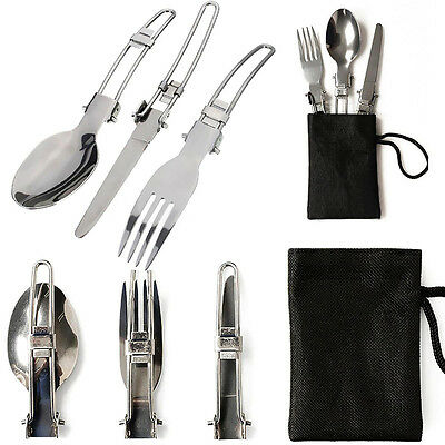 3Pcs Camping Picnic Tableware Flatware Stainless Steel Folding Fork Spoon Cutter