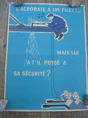 Ancienne Affiche Sncf Illustrateur Debray L'acrobate A Un Filet