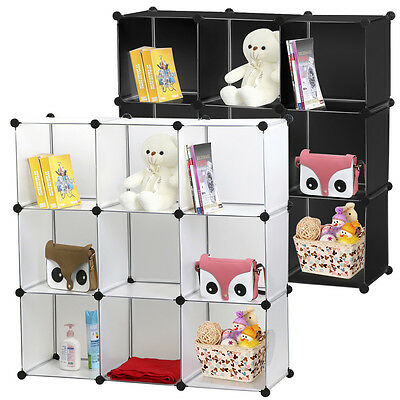 DIY 9 Easy Cube Storage Unit Cupboard Cabinet Wardrobe Rack Toy Book Shelves New