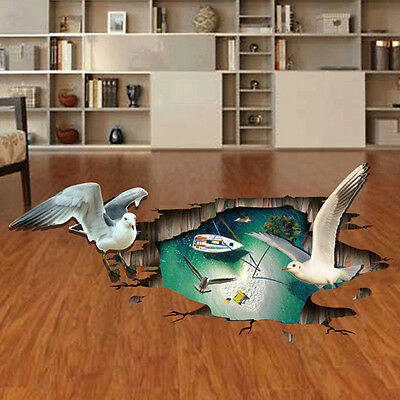 Home Décor 3D Animals Pattern Design Floor Wall Sticker Removable Mural Decals
