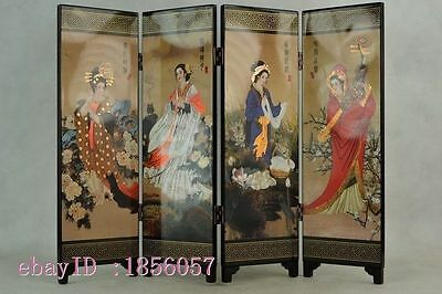 Traditional Chinese lacquer painting four noble beauty of the screen