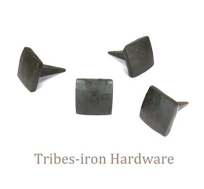 "24 IRON NAILS HAND FORGED 3/4"" SQUARE HEAD Rustic Metal Clavos Door Decor Studs"