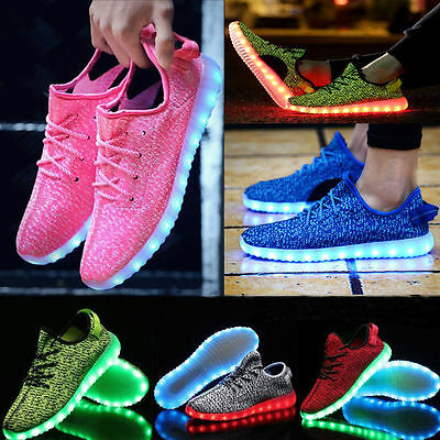 Unisex 7 Color Boys Girls Luminous Breathable Sneakers LED Light Up Mens Shoes A