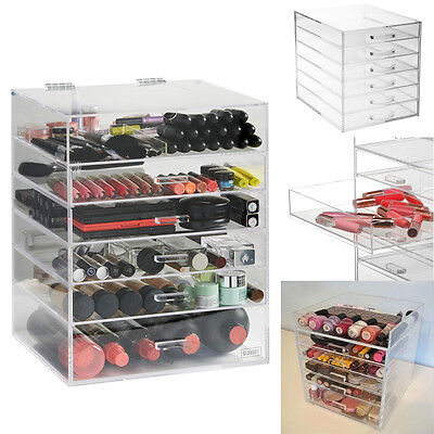 Extra Large 6 Drawers Clear Acrylic Cosmetic Organiser Make up Box Beautify Case