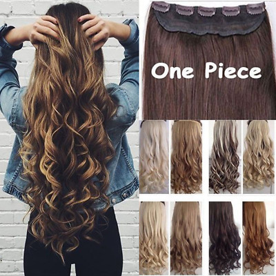 "UK Full head Clip-in Hair extensions One Piece 24"" look real curly straight"