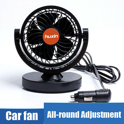24V Dual Air Fan 360° All-Round Rotation Automotive Cooling Cooler Car Van Truck
