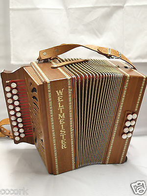 Weltmeister Button Accordion Good Condition Missing Key Harmonica WOOD