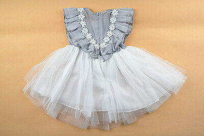 White Flower Girl Princess Vintage Special Occasion Party Wedding Dress