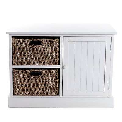 """COTTAGE BASKET SIDEBOARD """"EMILIA""""   27"""", white   chest of drawers with 2 baskets"""