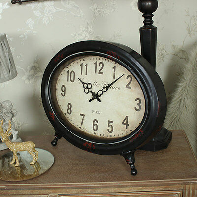 Rustic French oval mantel clock shabby vintage chic gift bedroom living room