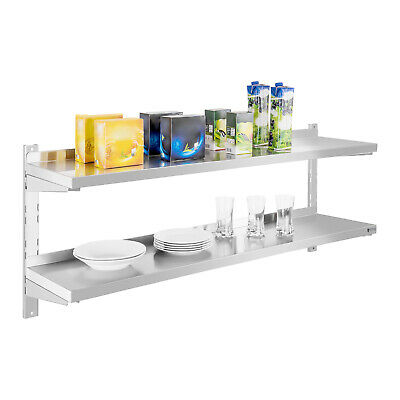 Durable Wall Shelf Kitchen Heavy Load 2 Shelves Practical Stainless Steel 140Cm