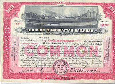 USA Amerika Hudson and Manhattan Railroad alte Aktie 1937 Eisenbahn deko
