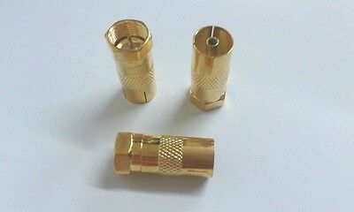 2 X F Male Plug to PAL Female Jack Straight RF coaxial F-type Adapter GOLD