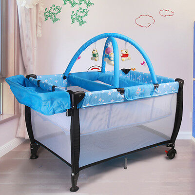BLUE ALL IN ONE BABY PORTABLE TRAVEL COT BASSINET Portacot WITH  PLAYPEN